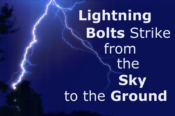 Lightning Bolts Strike from the Sky to the Ground